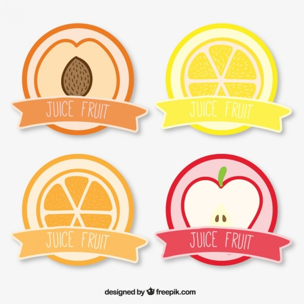 Juice fruit label collection Free Vector