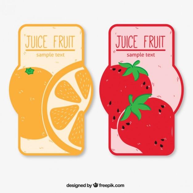 Juice fruit label set Free Vector