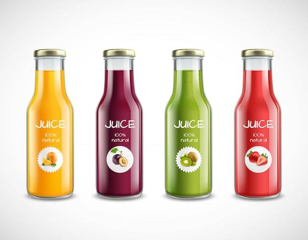 Juice glass bottles set Free Vector
