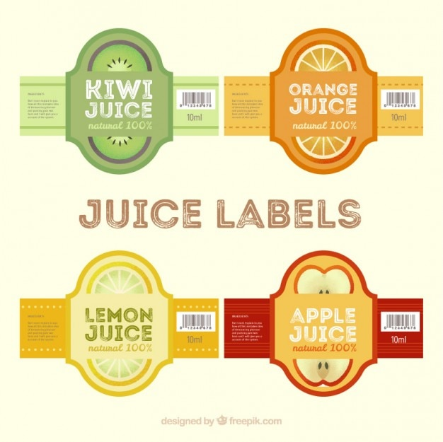 Juice labels in flat design Vector | Free Download