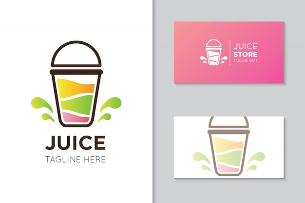 Juice logo and business card template Premium Vector