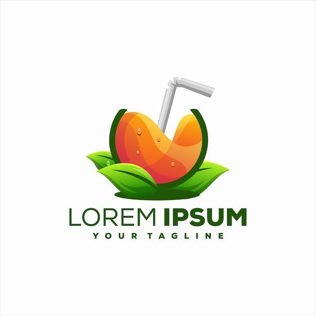ジュースオレンジフルーツのロゴデザイン Premiumベクター