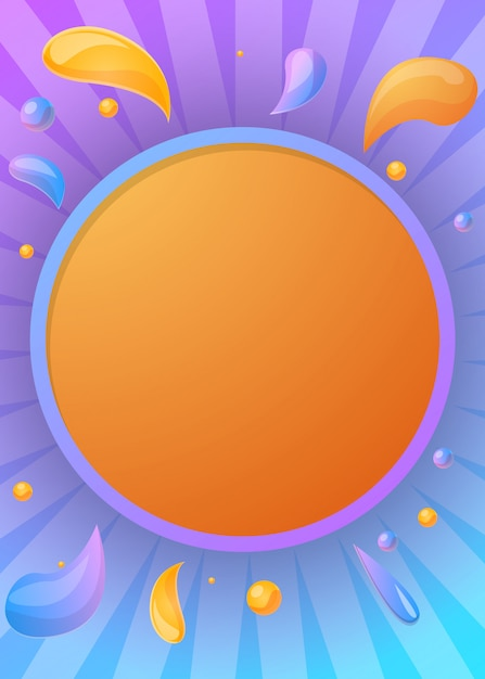 Juice party framed background, cartoon style Premium Vector