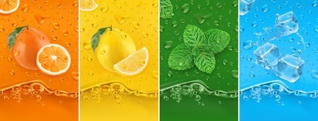 Сочные и свежие фрукты. апельсин, лимон, мята, ледяная вода. набор капель росы и всплеск иллюстрации Premium векторы