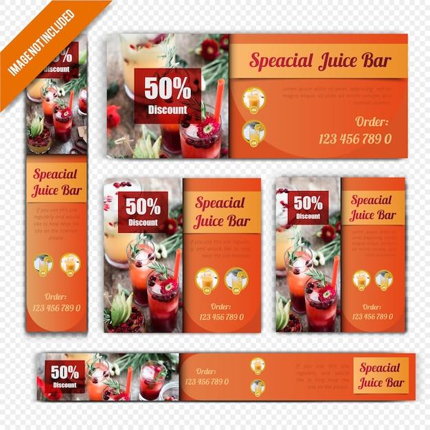 Juicy bar用webバナーセット Premiumベクター