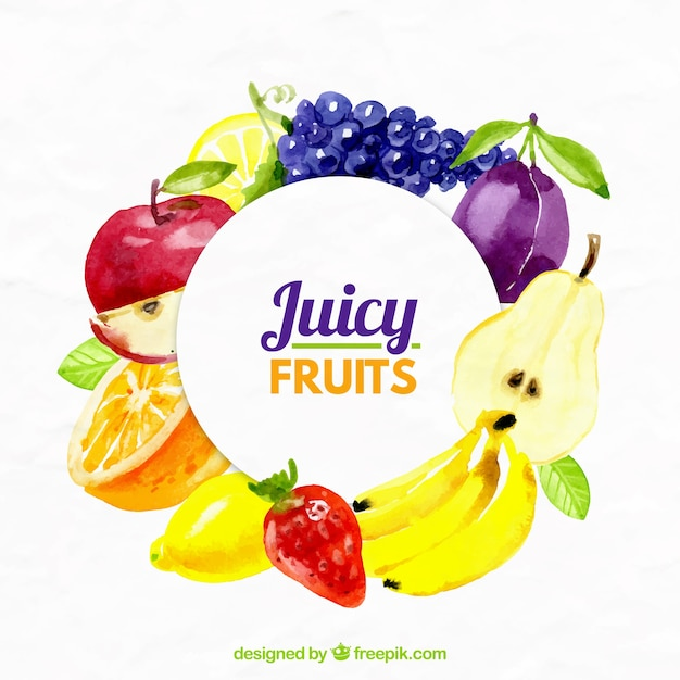 Juicy Fruits Background Free Vector