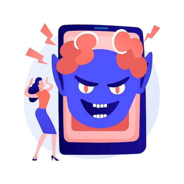 Jump scare advertising idea. cyberbullying, online intimidation. internet screamer, shock content, phone virus. horror clown character. vector isolated concept metaphor illustration Free Vector