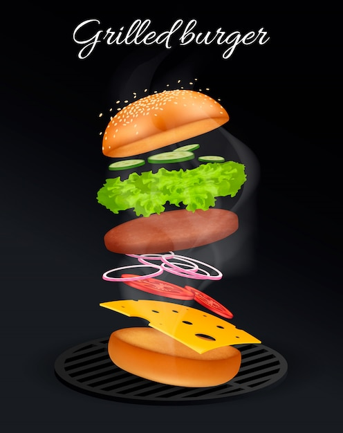 Jumping burger ads, delicious and attractive cheeseburger with refreshing ingredients in 3d illustration on black .  . Premium Vector
