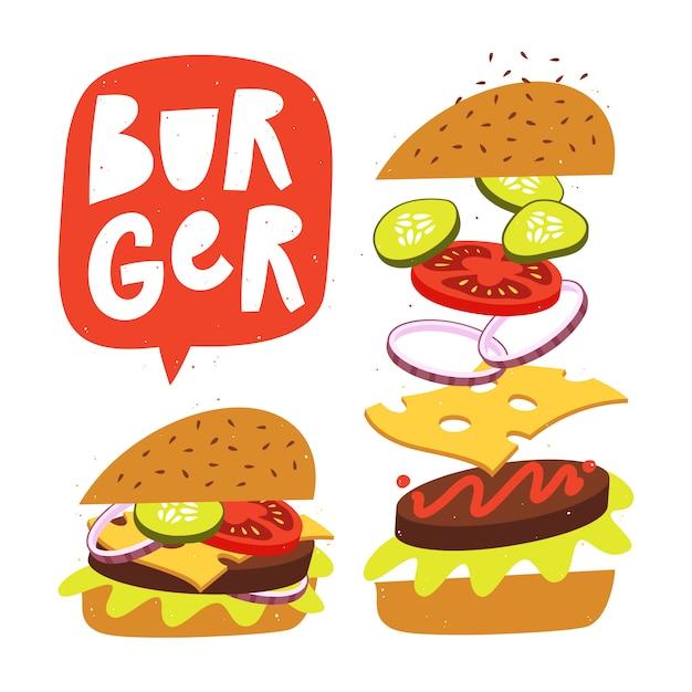 新鮮な食材を使ったジャンピングバーガー。ベクトルファーストフードのイラスト。 Premiumベクター