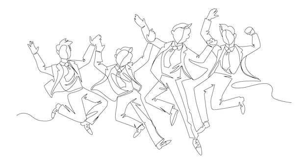 점프 사업가 연속 라인 아트. 축하하는 성공한 사람들. 비즈니스 팀워크 선형 개념. 프리미엄 벡터