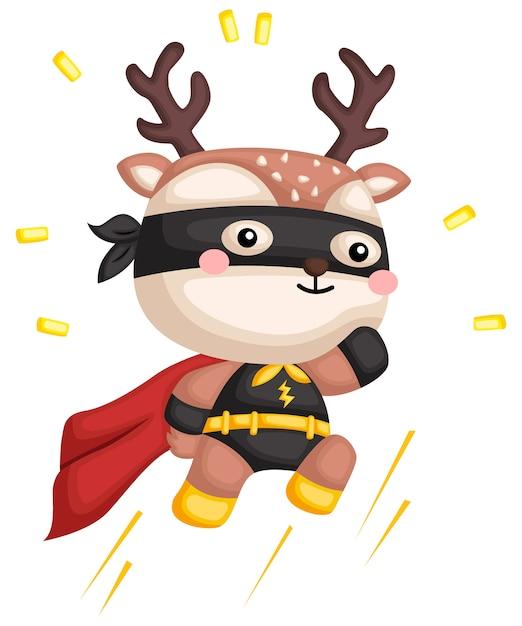 Jumping deer superhero Premium Vector