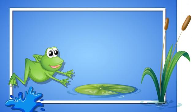 A jumping frog border Free Vector
