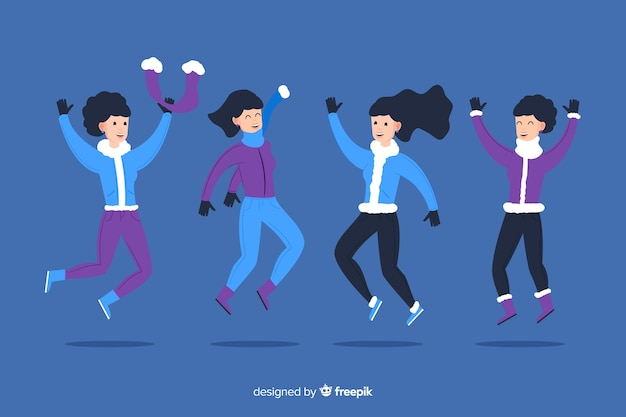 Jumping fun friends background in winter clothes Free Vector