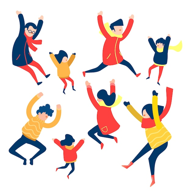 Jumping group of people collection Free Vector