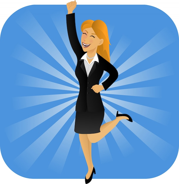Jumping happy bussiness woman Premium Vector