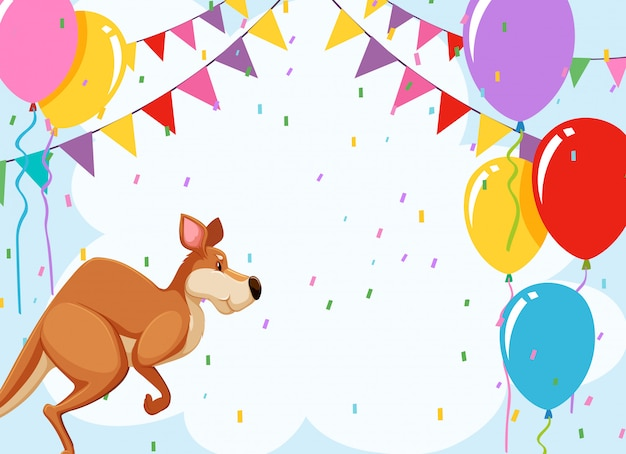 Jumping kangaroo party card Free Vector