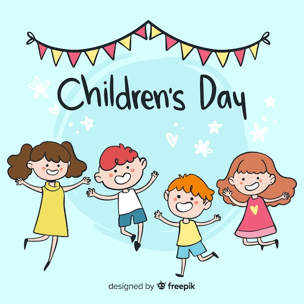 Jumping kids childrens day background Free Vector