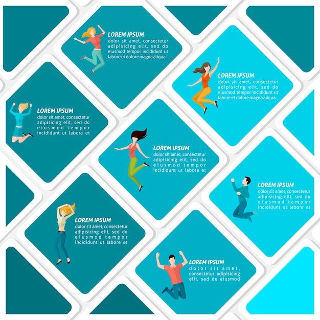Jumping people infographic Free Vector