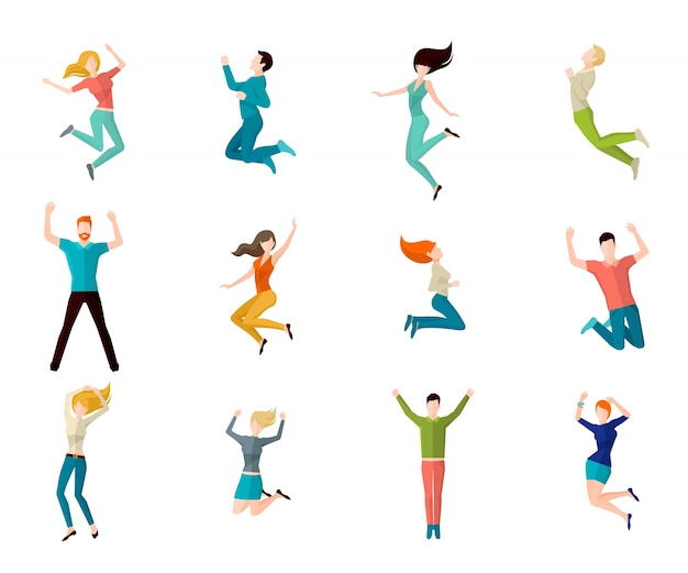 Jumping people set Free Vector