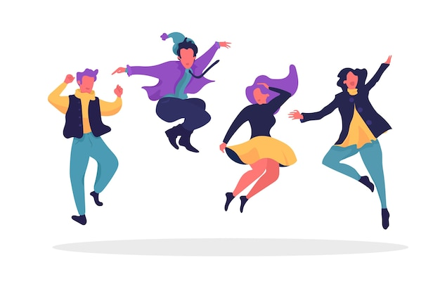 Jumping people wearing winter clothes Free Vector