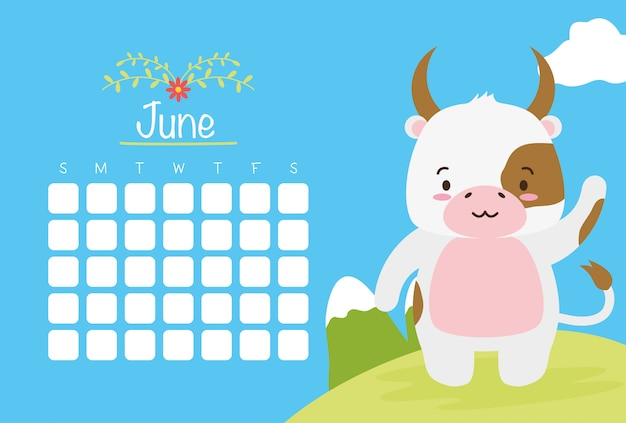 June calendar  with cute cow over blue, flat style Free Vector
