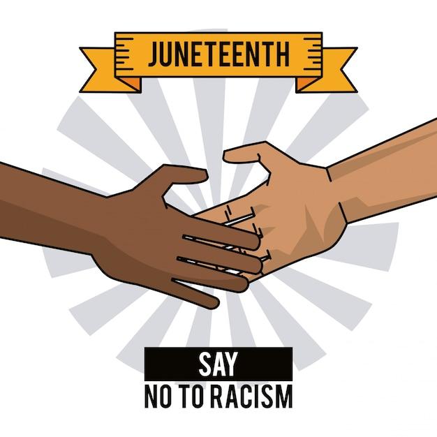 Juneteenth day hands say no to racism | Premium Vector