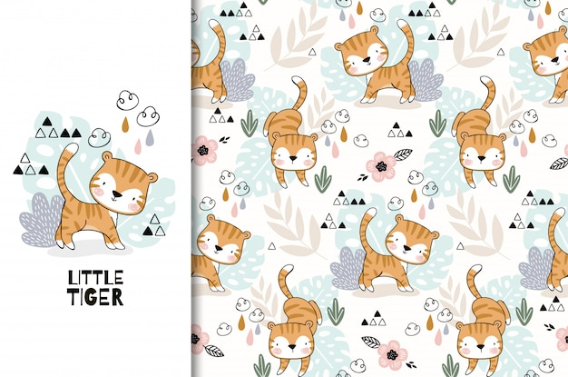 Jungle animal. cute cartoon tiger baby characte seamless pattern set. hand drawn  illustration. Premium Vector