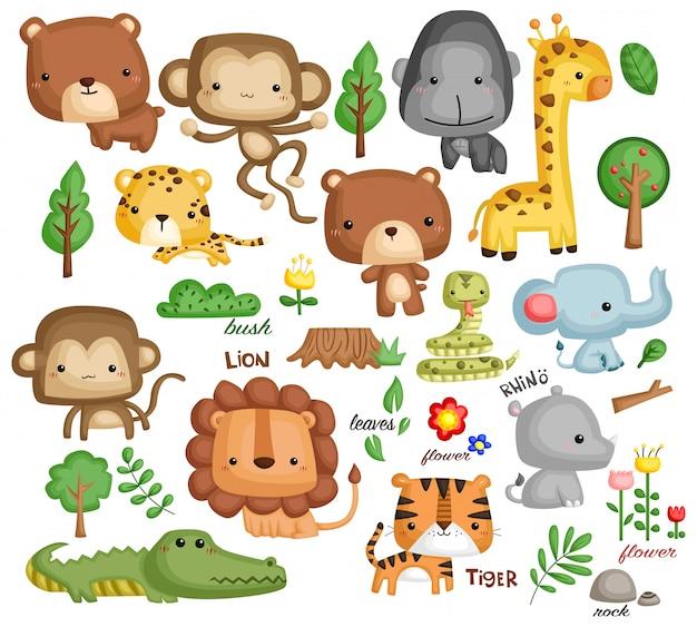 Jungle animal vector set Premium Vector