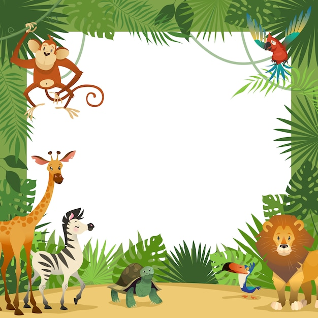 Jungle animals card. frame animal tropical leaves greeting baby banner zoo border template party children Premium Vector
