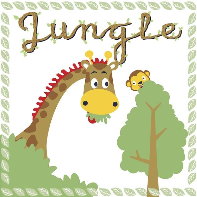 ジャングル動物漫画 Premiumベクター