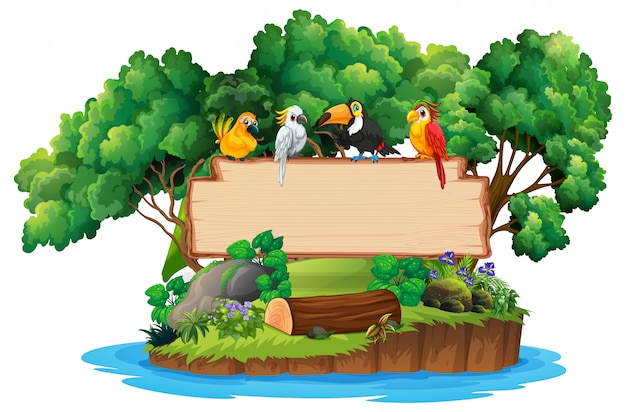 Jungle and bird wood blank sign copyspace Free Vector