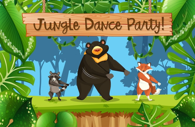 Jungle dance party scene Premium Vector