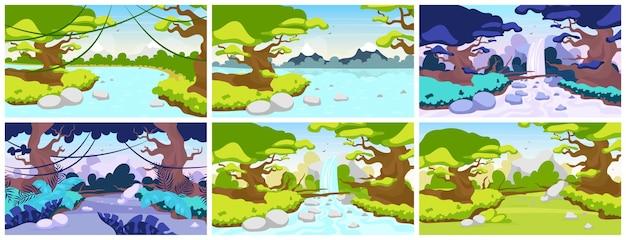 ジャングルフラット。地中海の動物相。熱帯林の風景。木々や川のパノラマシーン。エキゾチックな荒野。アマゾンの滝。雨林 Premiumベクター