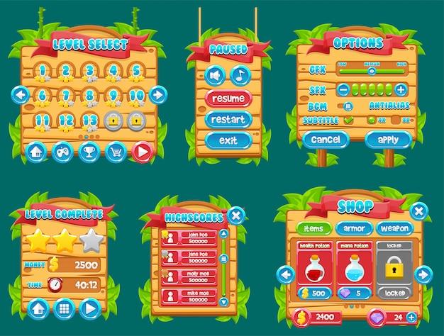 Gui джунглей игры Premium векторы