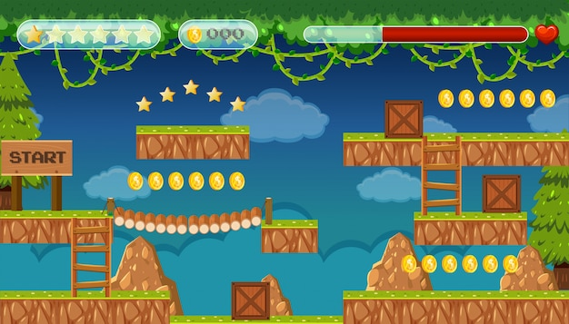 A jungle jumping game template Premium Vector