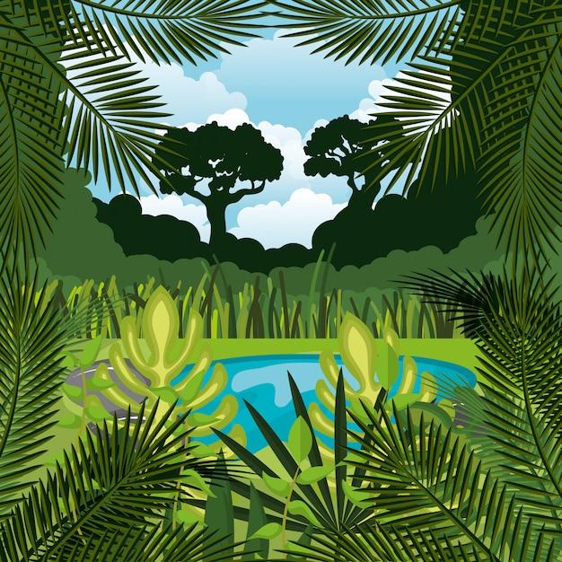 Jungle landscape background isolated icon design Premium Vector