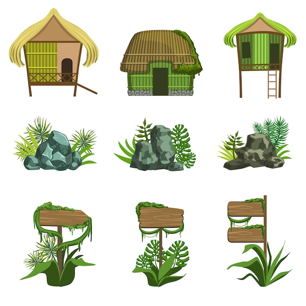 Набор элементов ландшафта джунглей Premium векторы