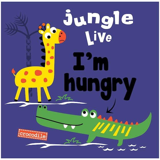 Jungle live funny animal cartoon Premium Vector