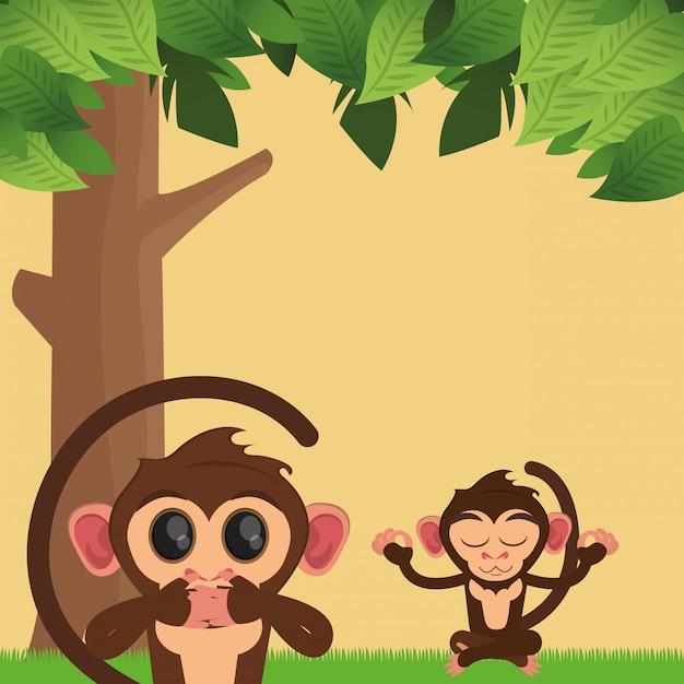 Jungle monkeys cartoon Premium Vector