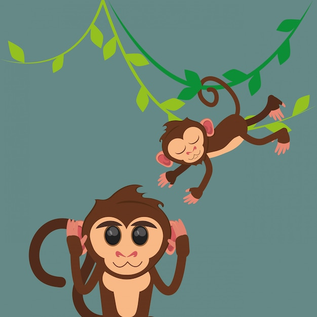 Jungle monkeys cartoon Premium Vector