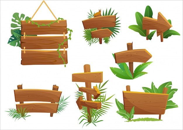 Знак древесины тропических лесов джунглей с тропическими листьями с пространством для текста. иллюстрации шаржа игры. Premium векторы