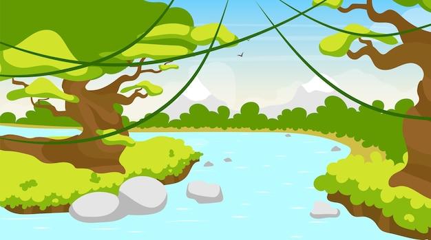 Река джунгли плоская. средиземное озеро. тропический водоем. панорамная сцена с деревьями и лианами. риверсайд, речной ручей. экзотический поток амазонок. водоток мультфильм фон Premium векторы