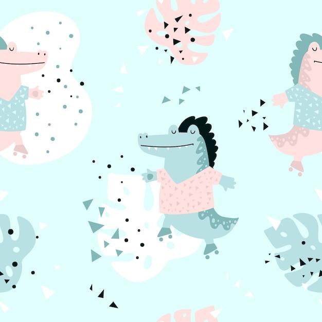 Jungle seamless pattern with crocodile Premium Vector
