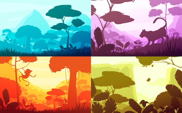 Jungle set of cartoon landscapes with rain forest illustration Free Vector