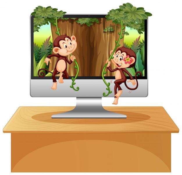 Тема джунглей на фоне компьютера Premium векторы