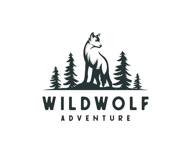 Jungle wolf logo, outdoor hunter logo Premium Vector