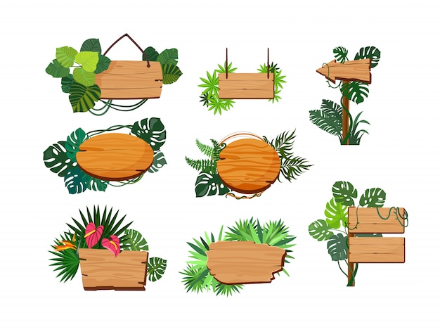 Jungle wooden boards set Free Vector