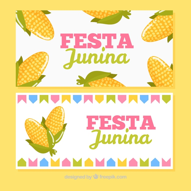 Junin festive banners with corn cobs Free Vector