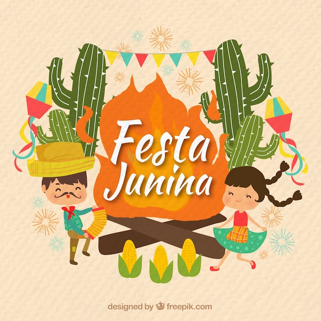 Junina party background with couple dancing and\ cactus