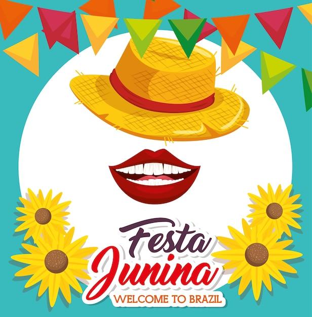 帽子の口ヒマワリとバナナとフェスタjuninaは、青と青背景のベクトル図 Premiumベクター